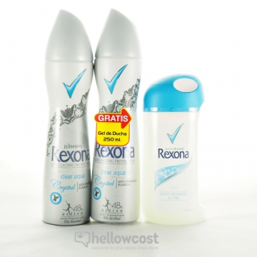 2X Déodorant Crystal Clear Aqua + Gel 250 Ml - Rexona