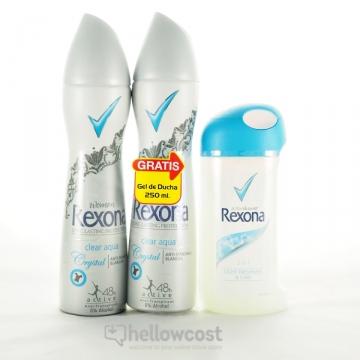2X Déodorant Crystal Clear Aqua + Gel 250 Ml - Rexona