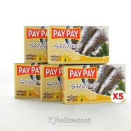 Pay Pay Sardines A L'huile D'olive Piquante Poids Net 5X120gr - Hellowcost