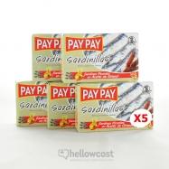 Pay Pay Petites Sardines A L'huile De Tournesol Piquante Poids Net 5X90gr - Hellowcost