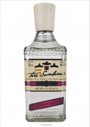 Tres Sombreros Blanco 100% Puro Agave Tequila 38% 70 cl - Hellowcost
